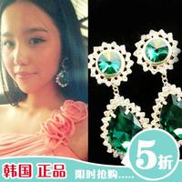 Luxurious emerald gem rhinestone earrings fashion vintage accessories women earring