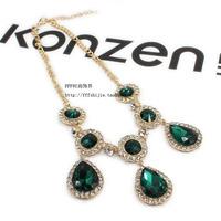 Anna dello russo adr for hm ladies elegant all-match emerald gem rhinestone necklace female