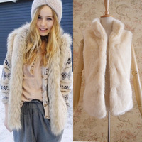 Free Shipping Fashion Lady Faux Fur Vest Short Design Women Stand Collar Artificial Fur Coat Vest Pocket