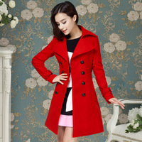 2013 new arrive winter red color luxury big coat women red double breasted belt woolen overcoat women Free Shipping 10093