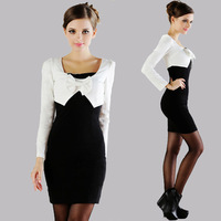 10018 2013 autumn two-color juxtaposition long-sleeve dress slim tight  Free Shipping