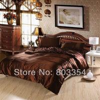 Luxury Imitation Silk Bedding, Dark Brown Twin Full Queen King Satin Bedclothes, Silk Bedding Set