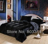 Luxury Imitation Silk Bedding, Black Twin Full Queen King Satin Bedclothes, Silk Bedding Set, Dropship Bedding Customize Order
