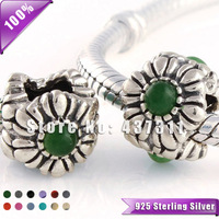 100% 925 Sterling Silver Chrysoprase Floral May Birthstone Charm Bead Fits European Style Jewelry Bracelets & Necklaces XS173E