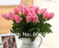 "72pcs 42cm/16.54"" REAL TOUCH artificial silk roses buds stems for bridal wedding bouquet/centerpieces decotation valentine's day"