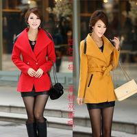 Wholesale women's new winter coat Korean Slim and long sections coat women coat lapel belt 1010