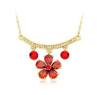 Free shipping 2013 NEOGLORY Jewelry fashion women's 18K gold zircon flower necklace party necklace gift necklace
