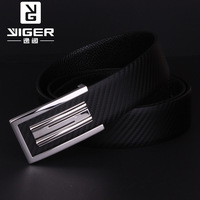 Luxury anti-allergic stainless steel strap genuine leather strap male cowhide belt