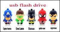 hot sale 8GB 16GB cartoon usb memory   Captain America   Green Lantern  Batman   spider-man superman usb flash drive 5pcs/lot