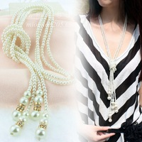 All-match pearl long design necklace tieclasps multi-layer tassel necklace female fashion clothes and accessories
