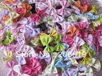 FZ026 flower bowtie 35mm*25mm printed ribbon bows 200pcs mixed colors garment accessory