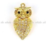 4gb 8gb 16gb 32gb metal yellow gold owl jewelry crystal USB 2.0 flash drive memory pen disk Drop ship dropshipping