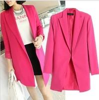 Autumn new Candy color medium-long suit outerwear plus size 2XL-3XL women Blazer & Suits Blazers women clothing suit coat