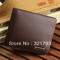 Fashion men's wallet genuine leather male horizontal wallet short design wallet,Free shiping!