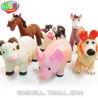 6 insolubility animal set model toy cartoon dog mutton horse donkey cow gift
