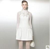 2013 To 2014 European Fashion Stand Collar Jacquard Bow One-piece White Princess Dresses Women