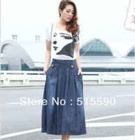 Posed jean skirts 2013 new Europe and the United States during the spring and autumn A word skirt pleated skirt