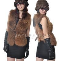 Winter raccoon fur short design vest sheepskin vest fur vest