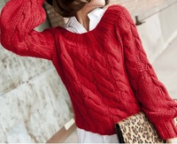 2014 Autumn Women Newly Off the Shoulder Lantern Sleeves Crocheted Knitted Pullovers Sweaters Outwear Red