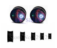 Hot sale galaxy saddle ear plug double flare flesh tunnel body piercing jewelry 6-25mm sizes 60pcs/lot
