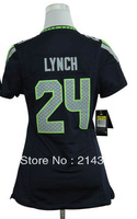Hot Sale # 24 Marshawn Lynch Women's Authentic Blue Football Jersey Free Shipping Online 2013