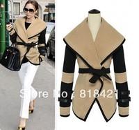 2013 fashion autumn new arrival large lapel waistcoat woolen outerwear women overcoat Jacket Coat