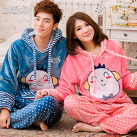 Winter thickening coral fleece lovers sleepwear female long-sleeve with a hood lounge set cartoon lovely sleepwear