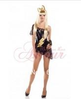 free shipping Amour Sexy Lady Gaga Costume Black One Shoulrder Mini Dress Set