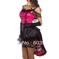free shipping Amour Sexy Highkick Honey Saloon Girl Burlesque Costume Dress Set Halloween