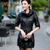 2013 women's sheepskin trench leather clothing medium-long slim outerwear overcoat