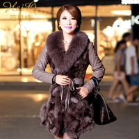 2013 winter outerwear women's fox fur leather coat