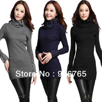 Sweaters 2013 Women Fashion Korean Wild  High Collar Lace  Long Sleeve Solid Knitted  Bottoming Shirt