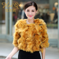 2013 women's quality fur fox fur short design outerwear thermal overcoat