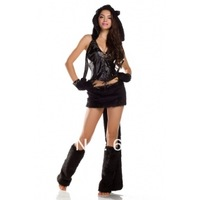 free shipping Amour Hand-Made Deluxe Black Cat Kitty Costume Furry Corset Full Set 7PCS