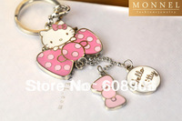 Z70a 2014 Best Selling Adorable Hello Kitty & Pink Bow Charms Keychain Key Ring