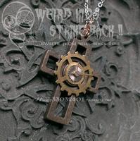 Free Shipping Steam Punk Pointer Gear Wood Cross Necklace Gear Set Pendant Jewelry