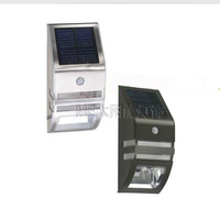 whole sale Stainless steel human body induction lamp Pir sener light Outdoor solar wall lamp 24pcs/lot Free shipping