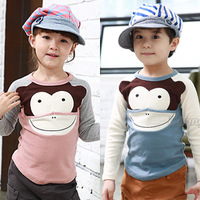 Free shipping 2014 spring and autumn monkey girls boys clothing baby child long-sleeve T-shirt