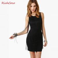 Richcoco vintage fashion tassel decoration slim hip tube top solid color o-neck tank dress one-piece dress d154
