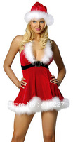 Free Shipping Christmas Costume Europe US Xmas Santa Cosplay Sexy Deep V Furry Red White Party New Year Wholesale Price X33