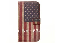 Retro American USA Flag Wallet Credit Card Multifunctional Synthetic Leather Case for Samsung Galaxy S III S3 i9300