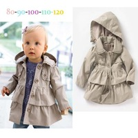 The new of the autumn baby clothing hooded windbreaker coat of the girls children cothing baby girls trench coat