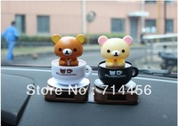Free shipping  1 pc Solar dolls  lovely Rilakkuma bear  furnishing articles shook his head   car ornaments car accessories