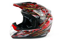 Off-Road Dirt Bike Motocross ATV Motorcycle Helmet DOT with Visor goggle YH-623 red and gold