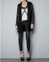2013 leather patchwork nerong circle wool overcoat trench woolen outerwear female stand collar epaulette