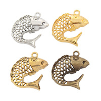14PCS zinc alloy pendant 2014 new charm pendant 24k gold Hollow Sea Fish charm pendant findings for jewelry making XBL4034