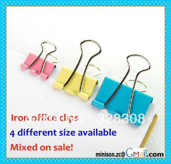 Clips Multicolor escritório ferro para atacado, 4 tamanhos diferentes misturados à venda(China (Mainland))