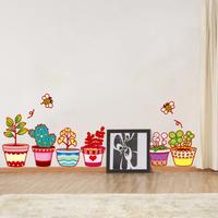 Free shipping cute flowerpot removable wall sticker modern home decor window decals WS12