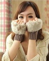 2013 women's short arm sleeve knitted semi-finger wigs twisted gloves