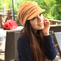 Brief all-match solid color fashion cap ruffle plus velvet thermal cap beret